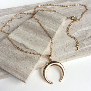 Gold Crescent Moon Necklace w/ tiny moon detail